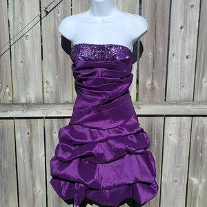 Strapless Purple Dress Sequin Bodice & Corset Back